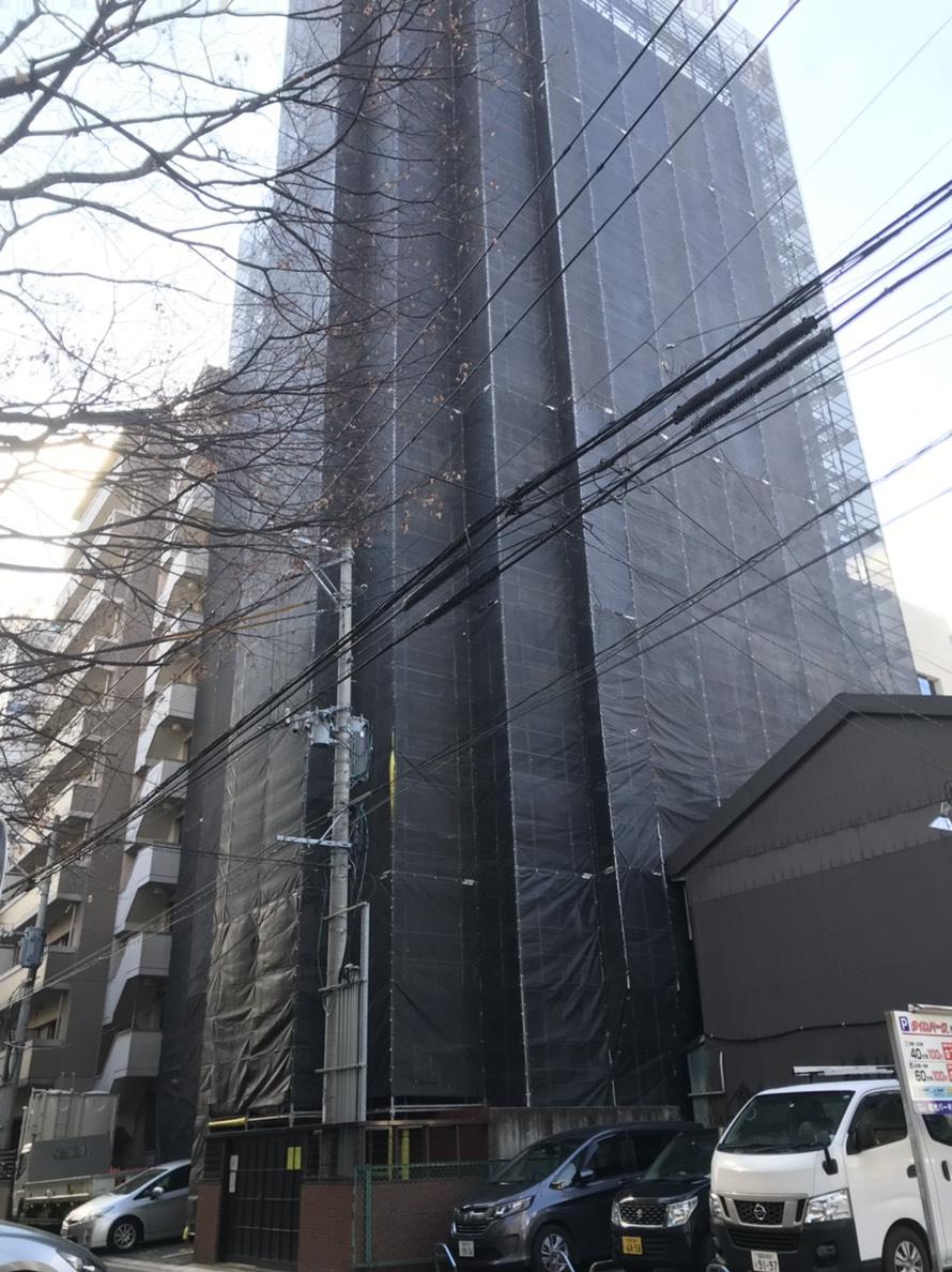 福岡県福岡市博多区 博多駅南 13階建てマンション足場 3000㎡
