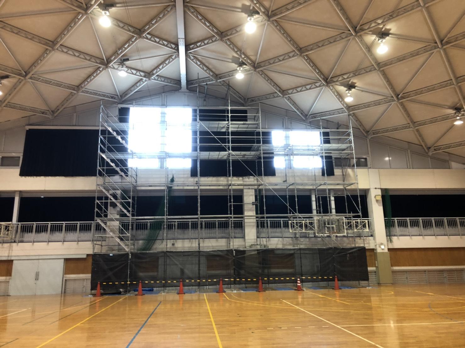 福岡県福岡市博多区  福岡高校体育館 部分足場工事