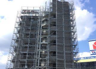 福岡県福岡市福岡西区 8階建  足場工事⑵(※メッシュシート設置前)