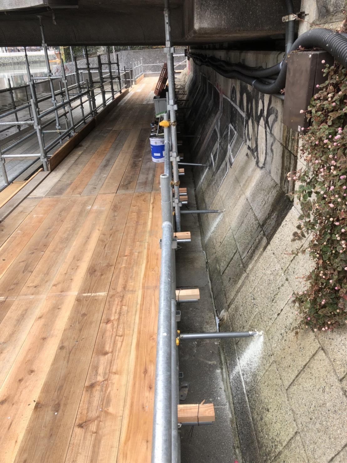 福岡県福岡市博多区中洲 出合い橋  仮囲い足場工事  本設通路足場工事⑸