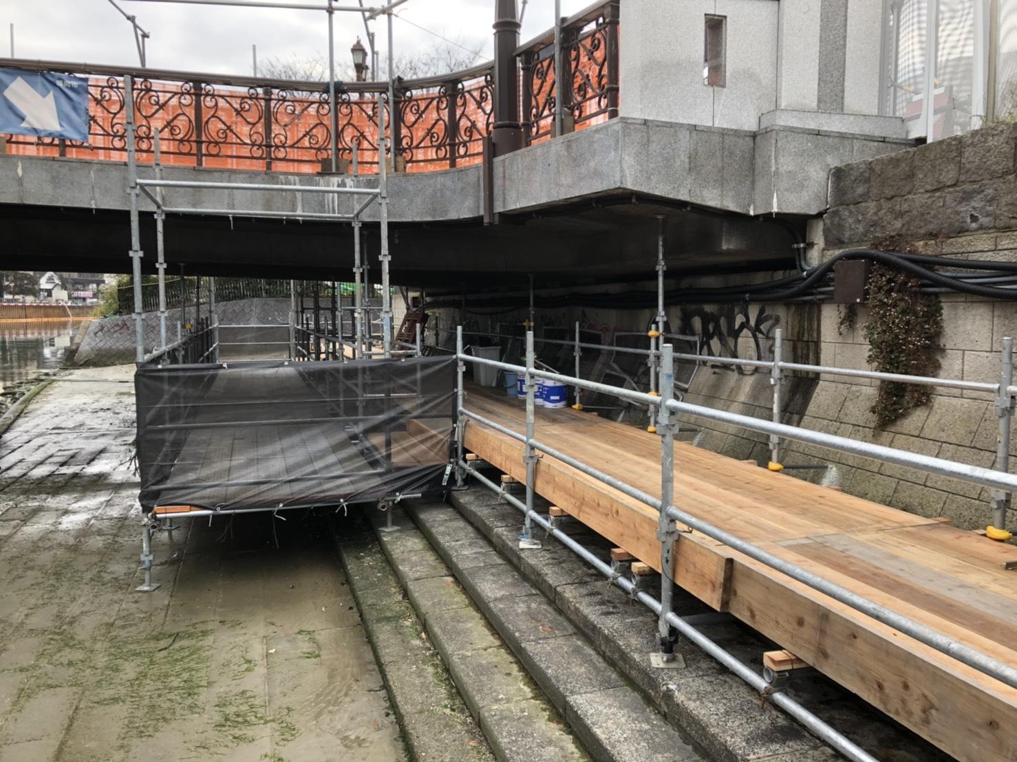 福岡県福岡市博多区中洲 出合い橋  仮囲い足場工事  本設通路足場工事⑷