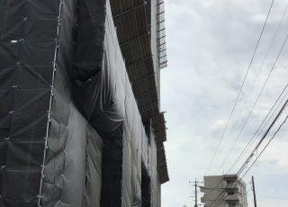 佐賀県鳥栖市 15F建て 大規模修繕工事 足場①