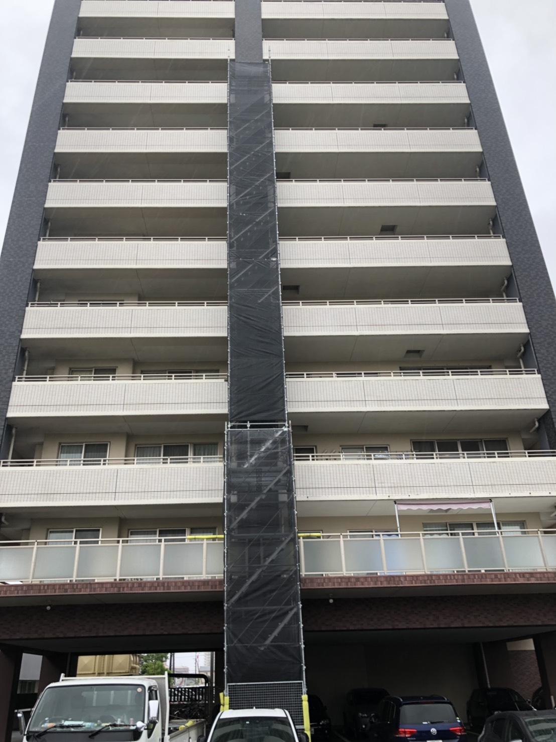 福岡県久留米市 部分補修工事 足場①