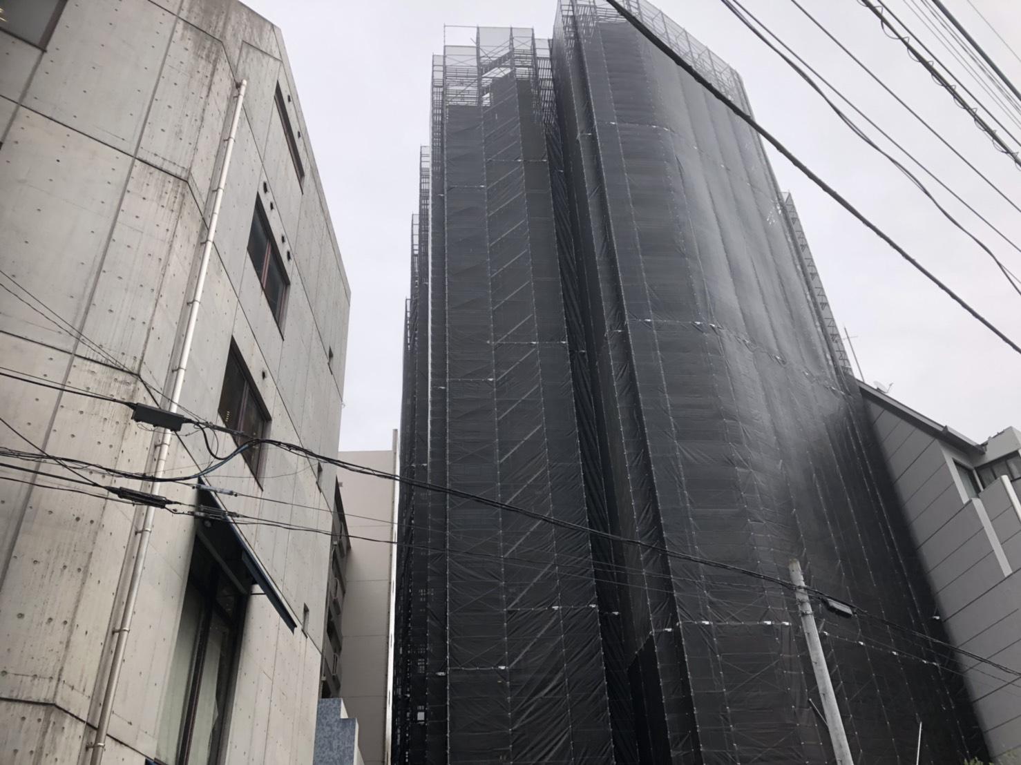 福岡県福岡市中央区薬院 14階建 大規模修繕工事 足場⑶
