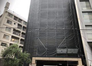 福岡県福岡市中央区薬院 14階建 大規模修繕工事 足場⑷