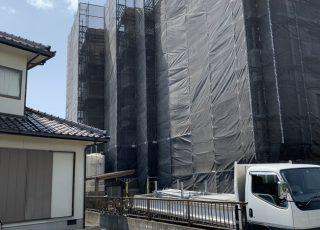 福岡県粕屋郡粕屋町 5階建 改修工事 足場①
