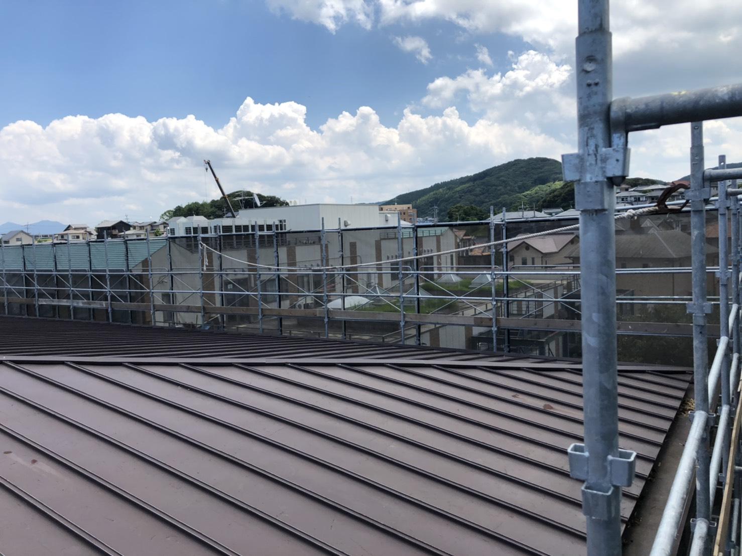 福岡県遠賀郡岡垣町民武道場  改修工事 足場①