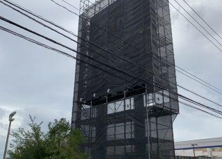 福岡県福岡市東区 独立看板 足場工事