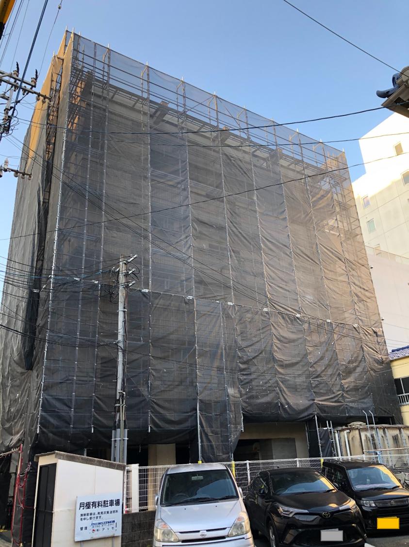福岡県福岡市博多区 7階建 マンション改修工事 足場②