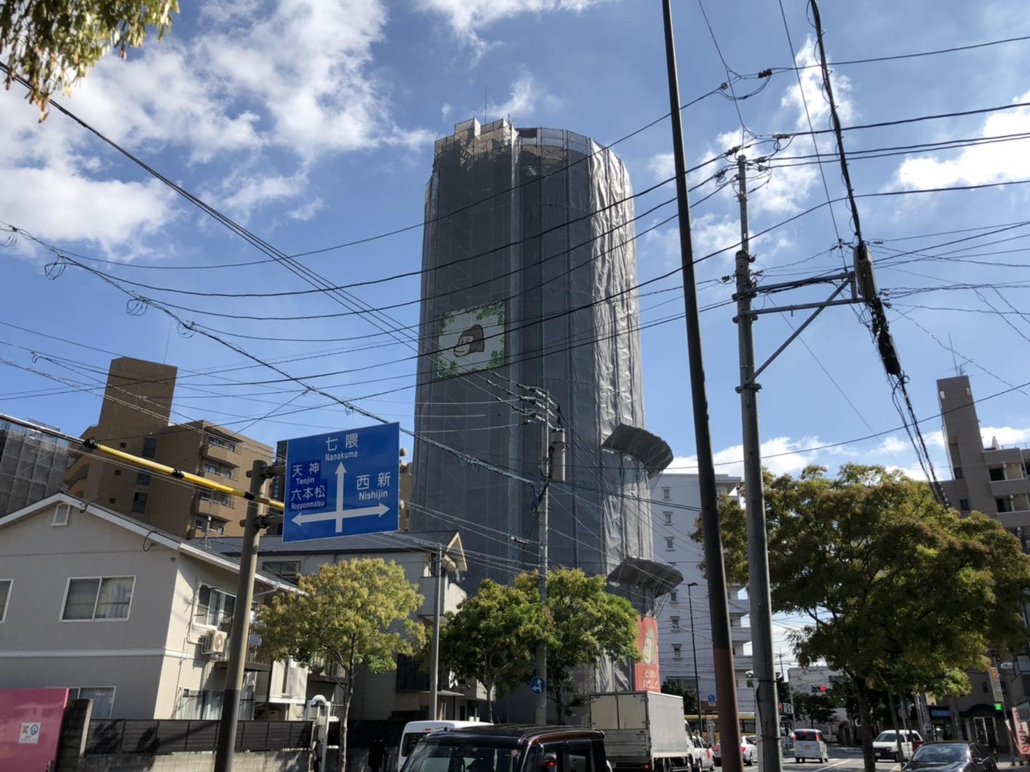福岡県福岡市中央区 鳥飼タワービル 改修工事 足場①