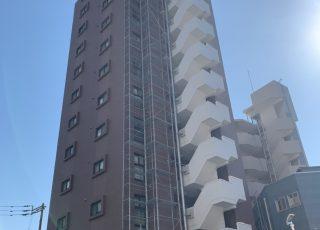 福岡県福岡市博多区 14階建マンション  部分足場工事