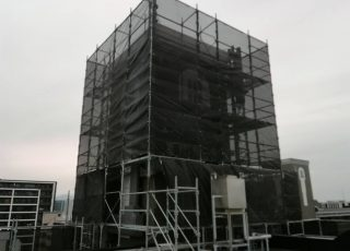 福岡県福岡市中央区  14階建マンション 大規模改修工事 足場①