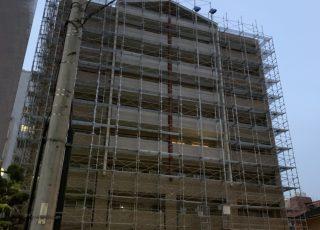 福岡県福岡市城南区  9階建マンション 改修工事足場