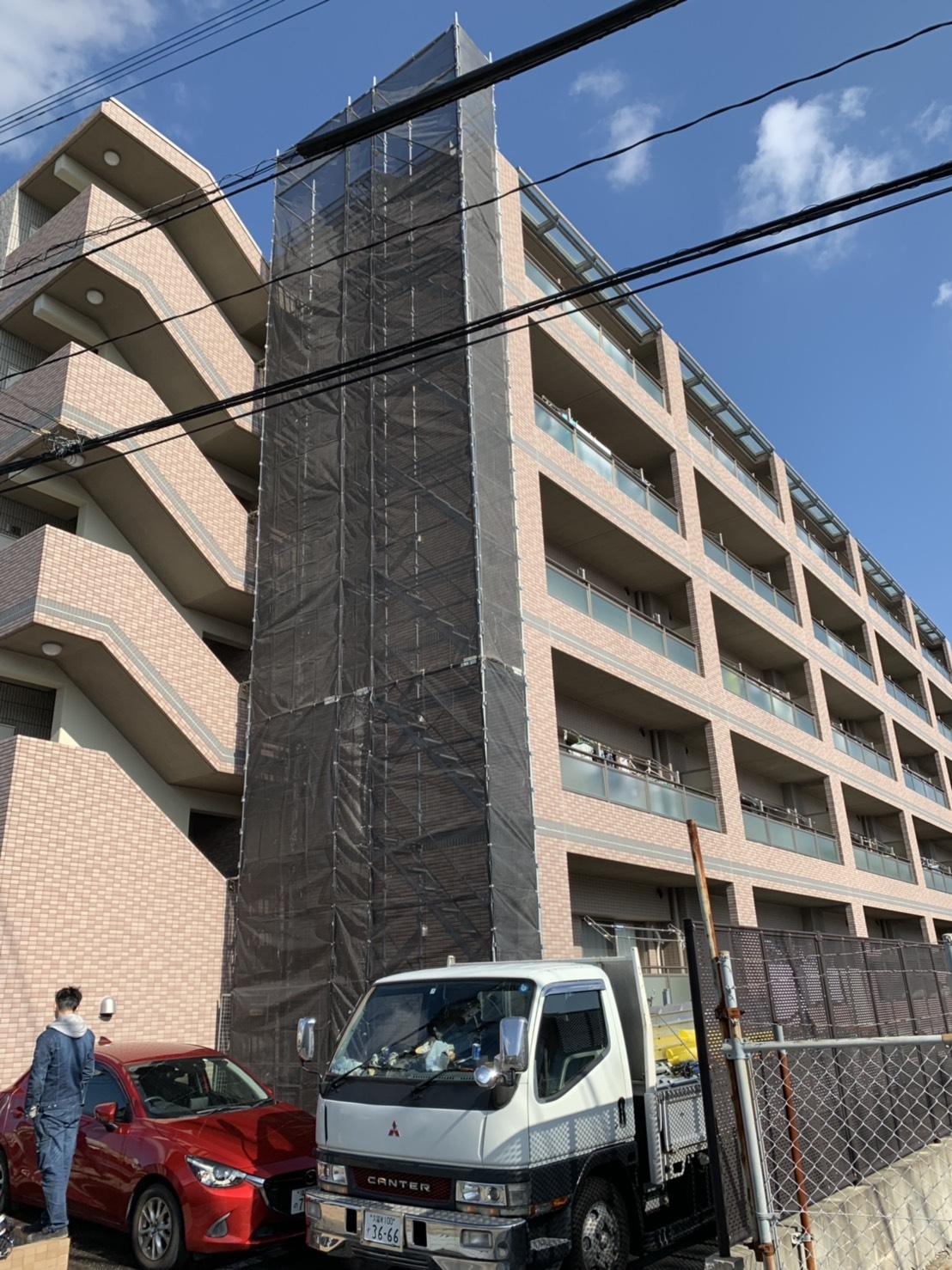福岡県福岡市早良区 6階建マンション 部分足場工事
