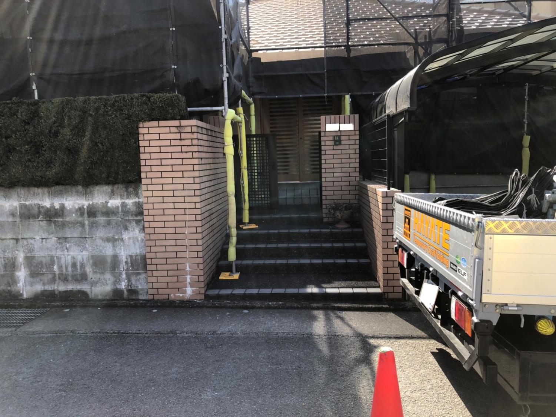 福岡県久留米市  平屋住宅 足場工事①