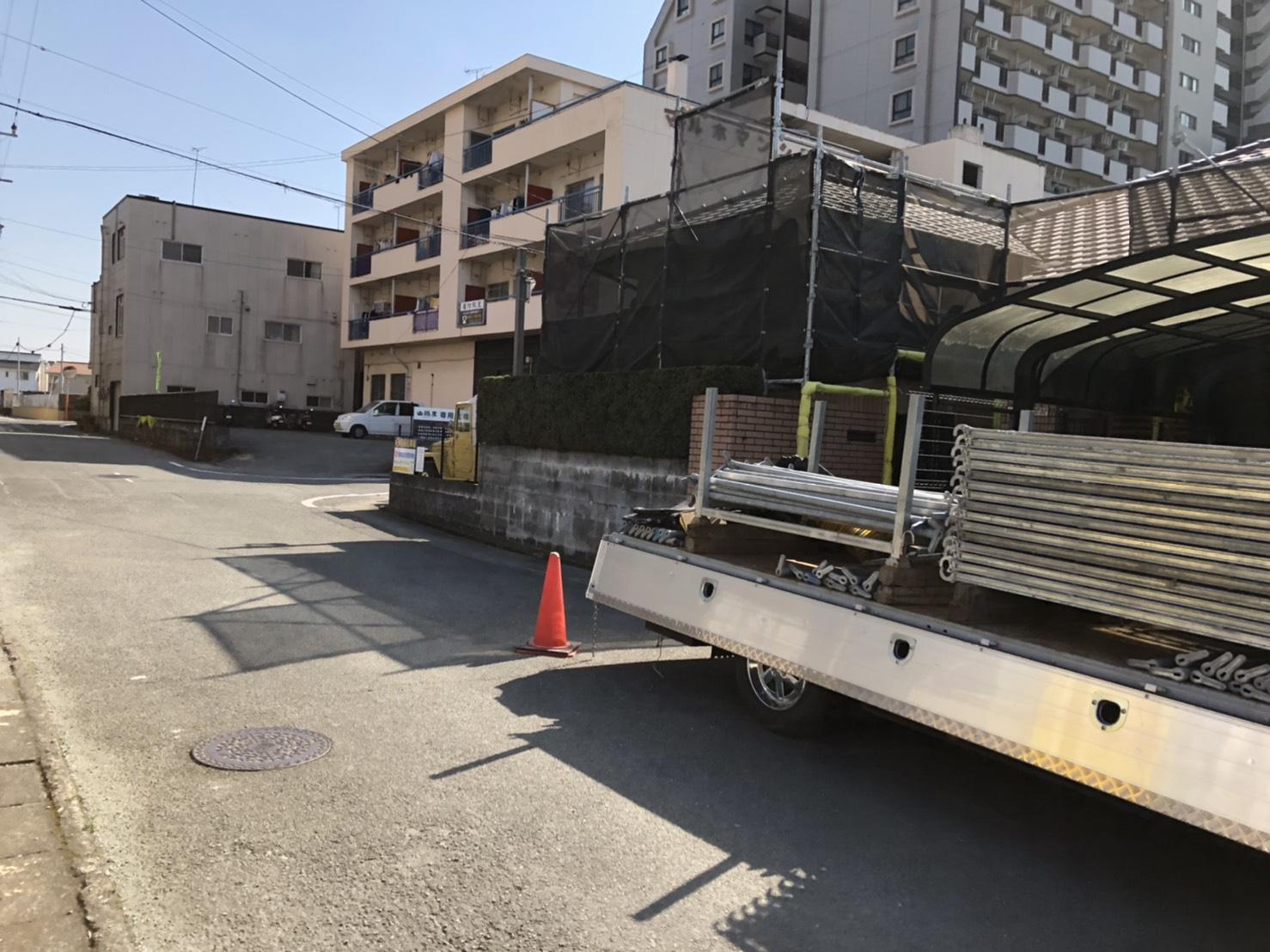 福岡県久留米市  平屋住宅 足場工事②