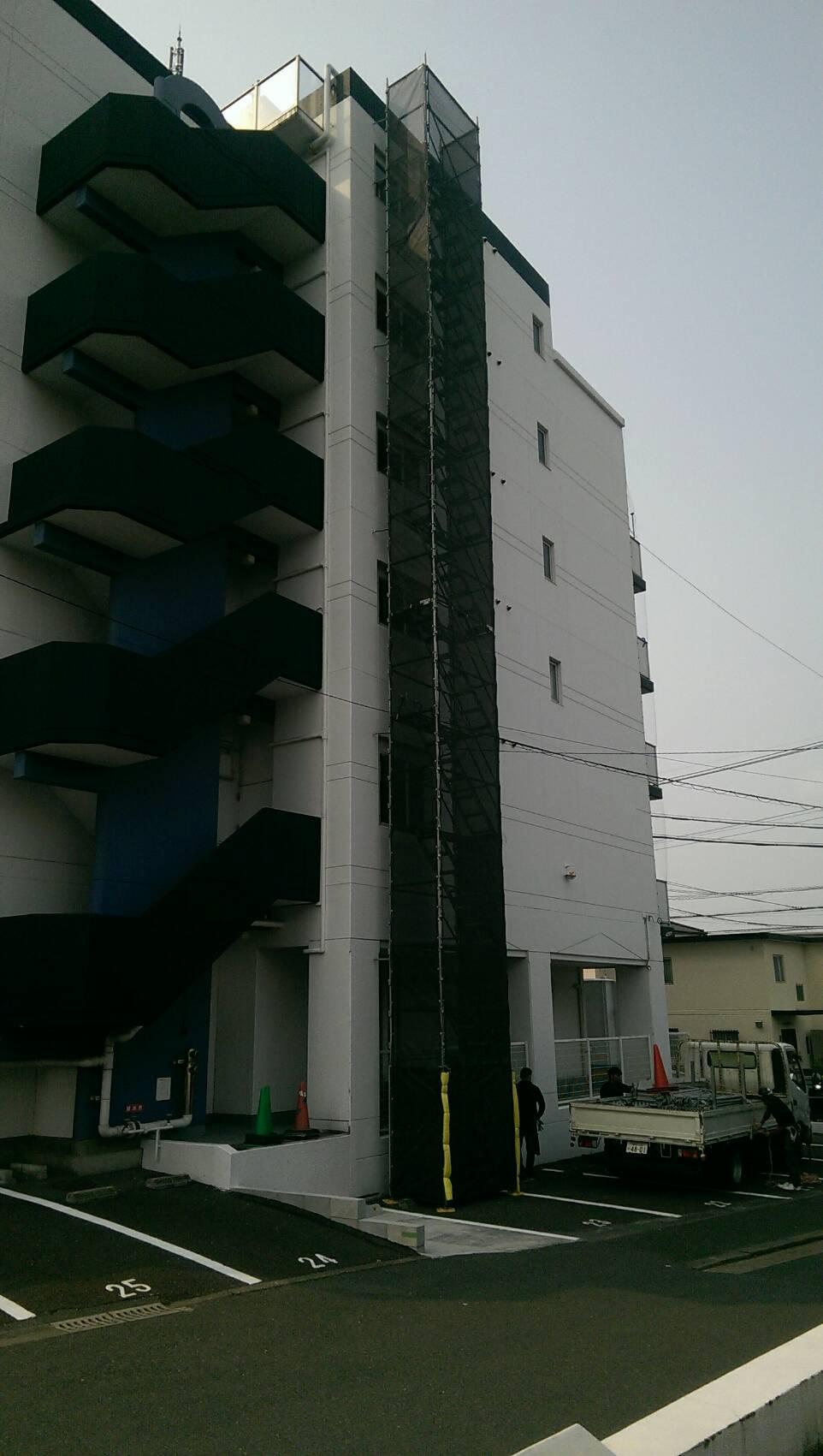 福岡県福岡市東区 昇降足場工事
