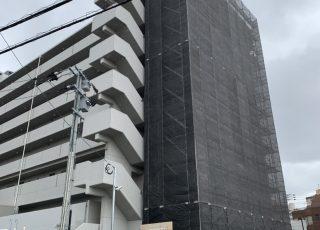 福岡県大野城市 両妻面 タイル補修のための緊急足場工事