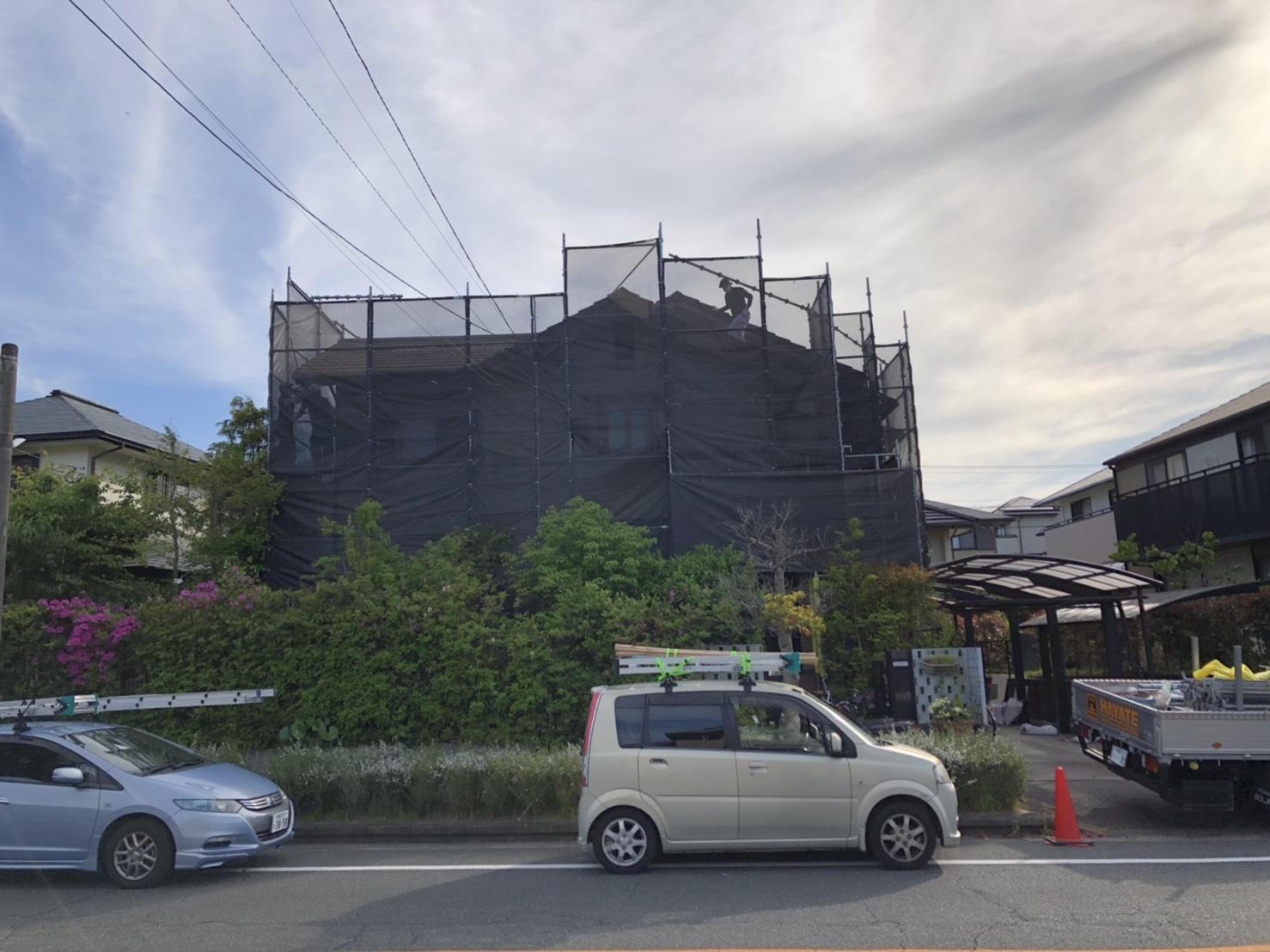 福岡県筑紫野市 住宅改修工事 足場①