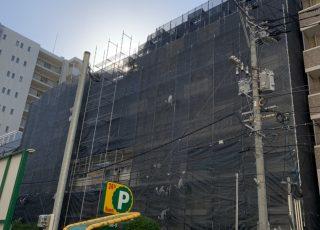 福岡県福岡市中央区 大規模修繕工事 足場①