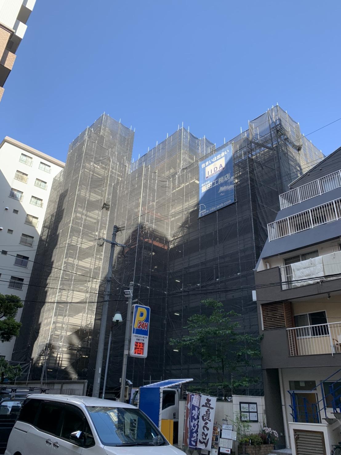 福岡県福岡市中央区 大規模修繕工事 足場②
