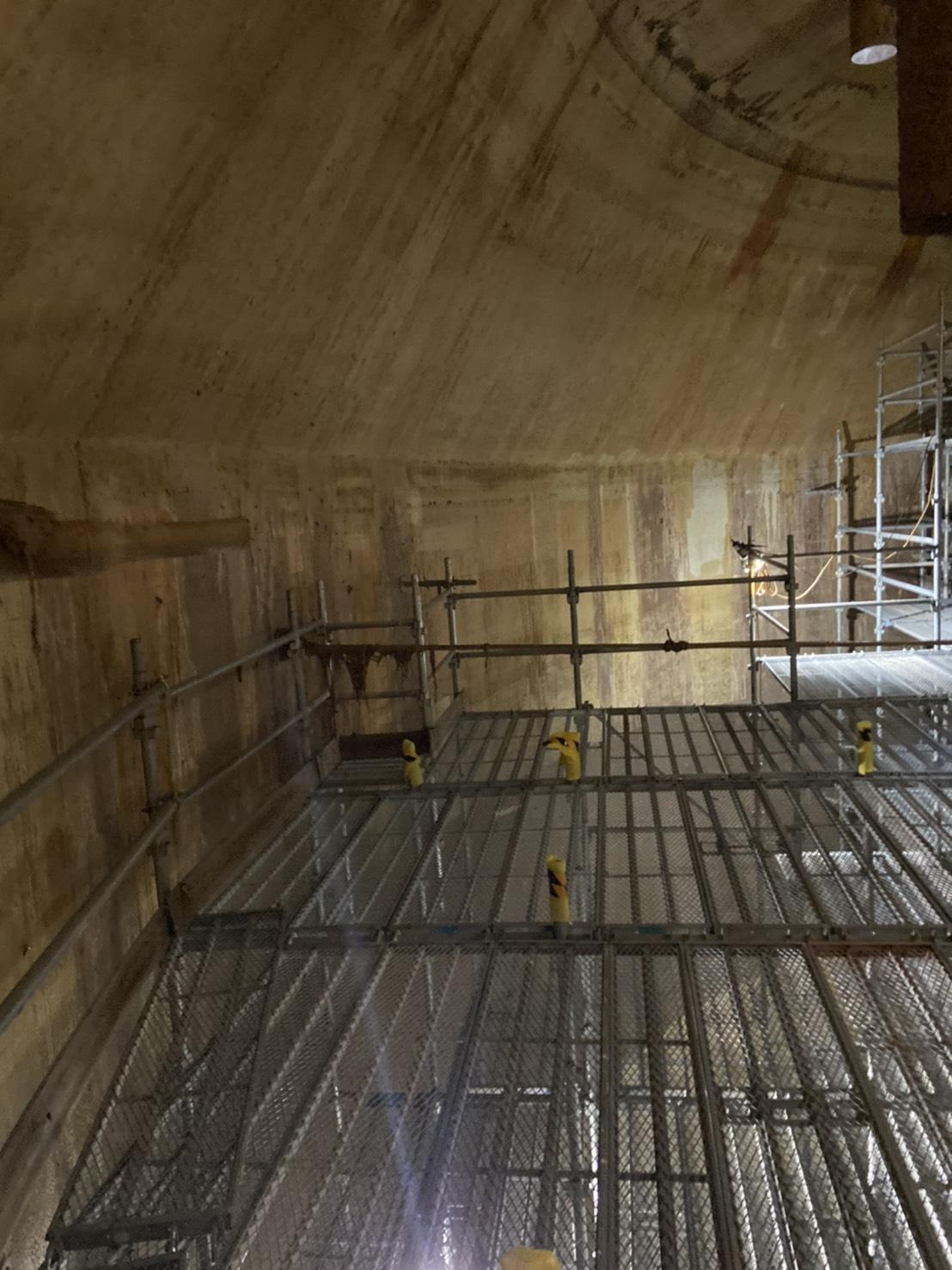 福岡市東区 水処理センター 貯水タンク内 足場工事⑤