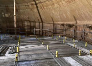 福岡市東区 水処理センター 貯水タンク内 足場工事④