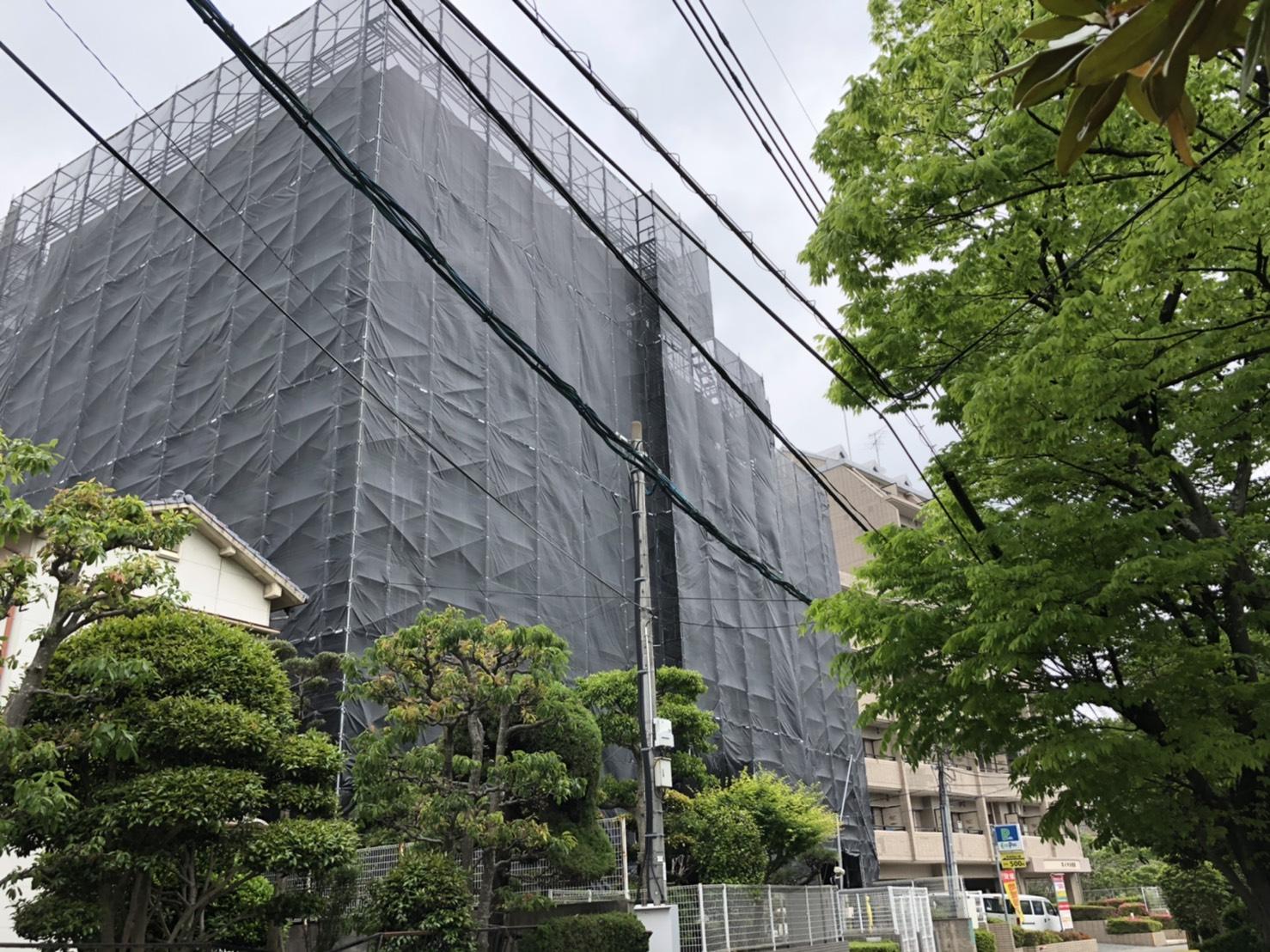 福岡県福岡市東区 大規模改修工事 足場②
