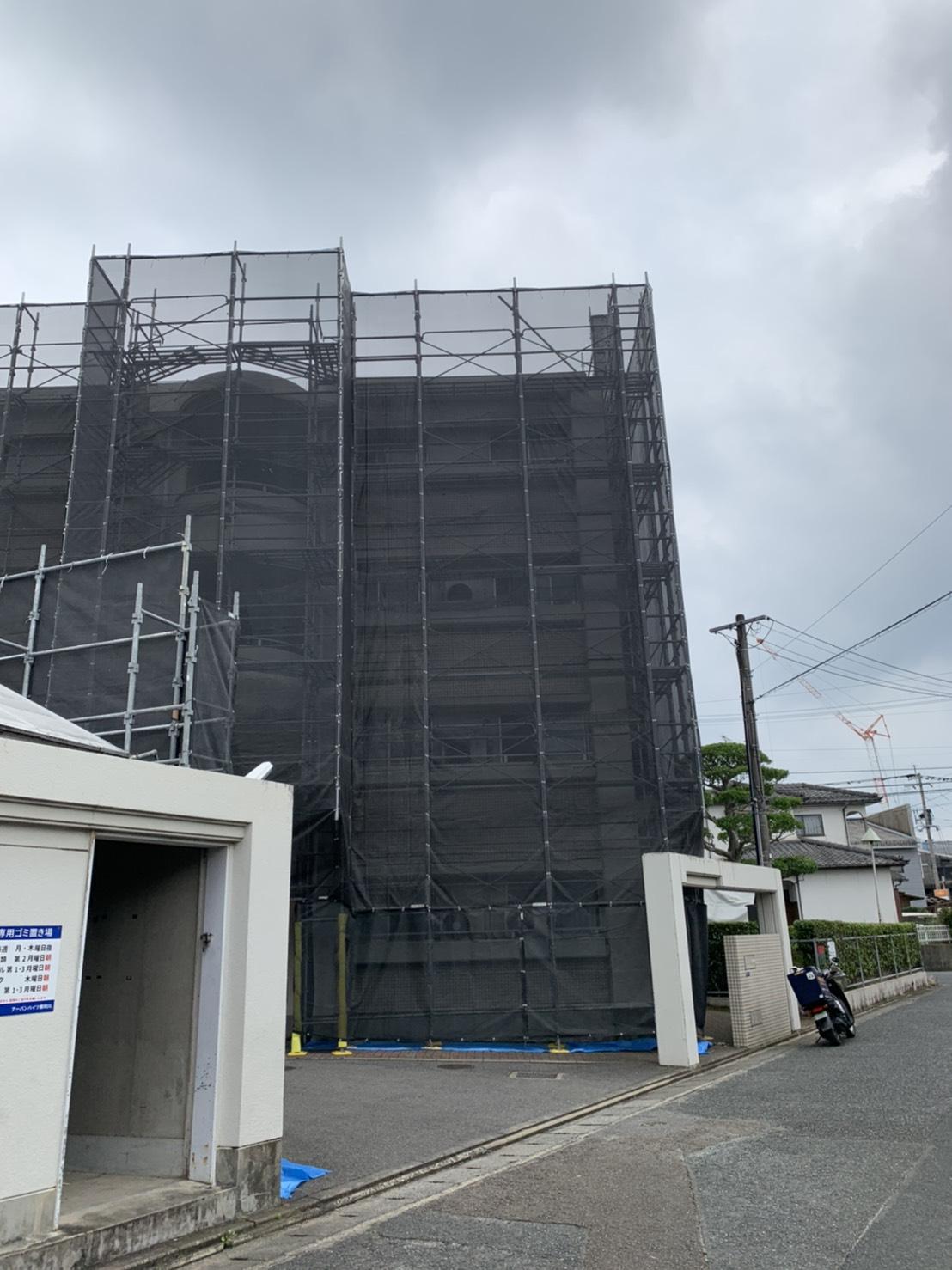 福岡県那珂川市 マンション 大規模改修工事 足場②