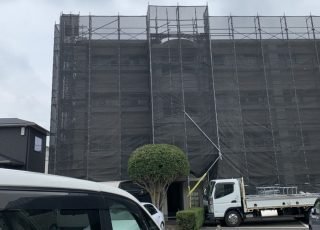 福岡県那珂川市 マンション 大規模改修工事 足場①