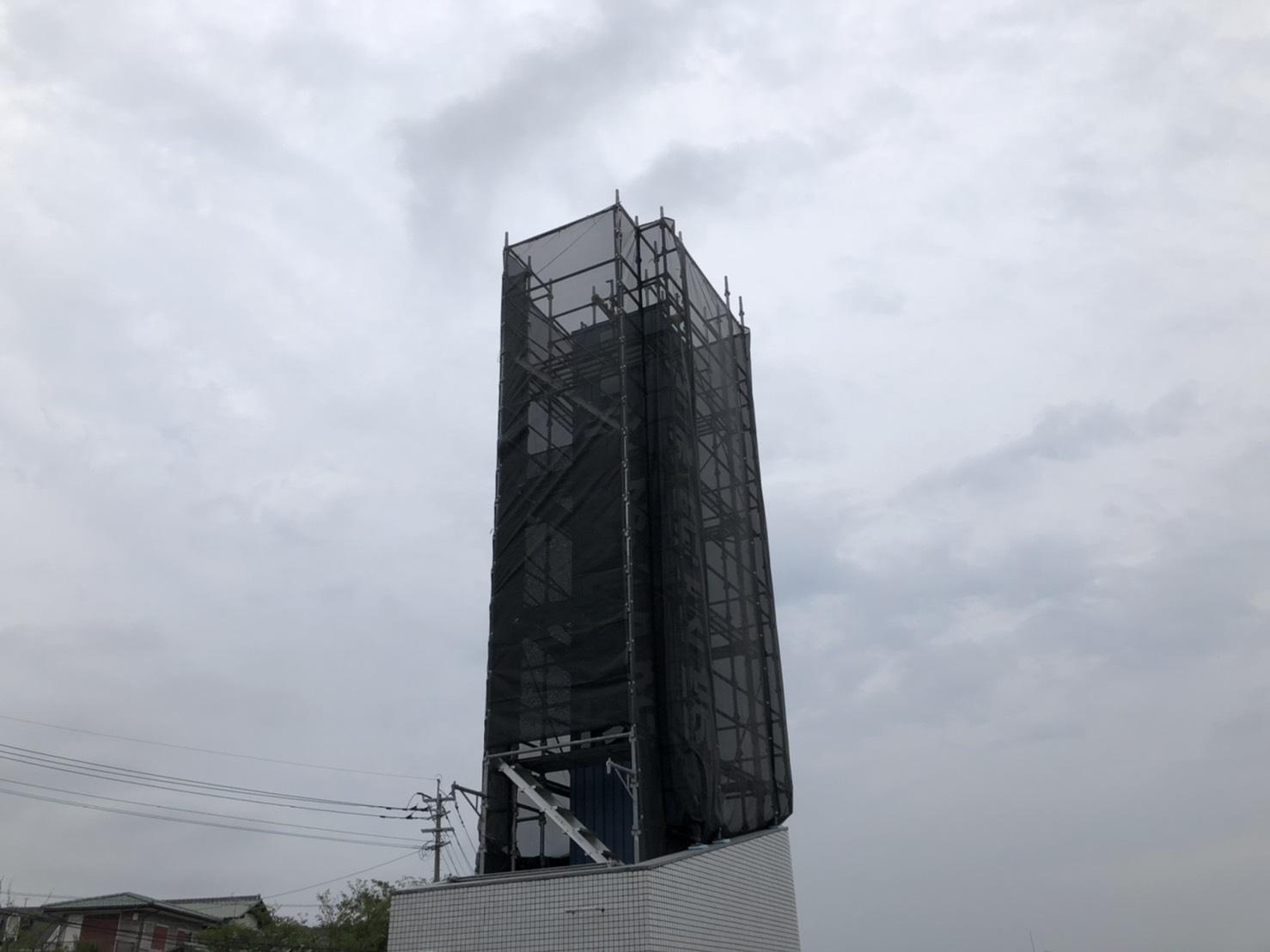 福岡県福岡市南区 某病院 屋上看板足場工事