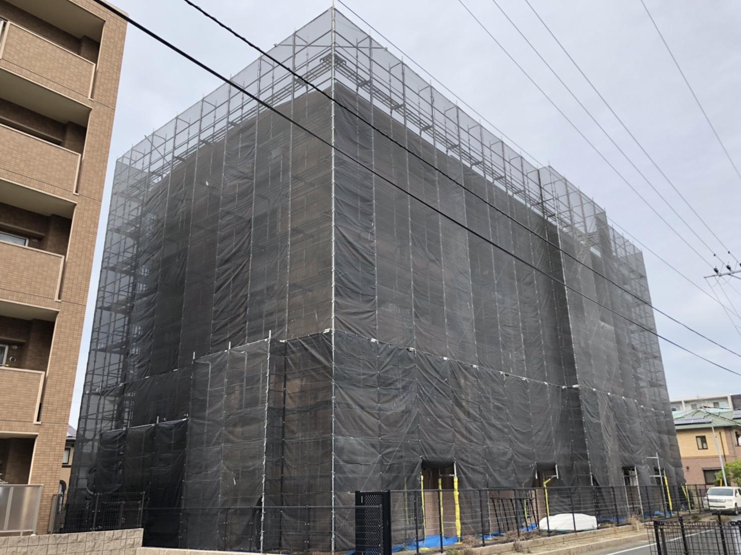 福岡県福岡市西区5階建 改修工事足場①