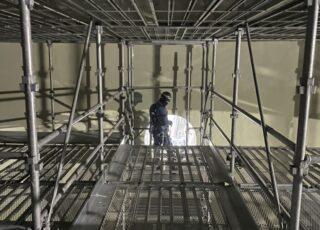 福岡県福岡市東区 某水処理センター 消化槽内 内部足場工事③