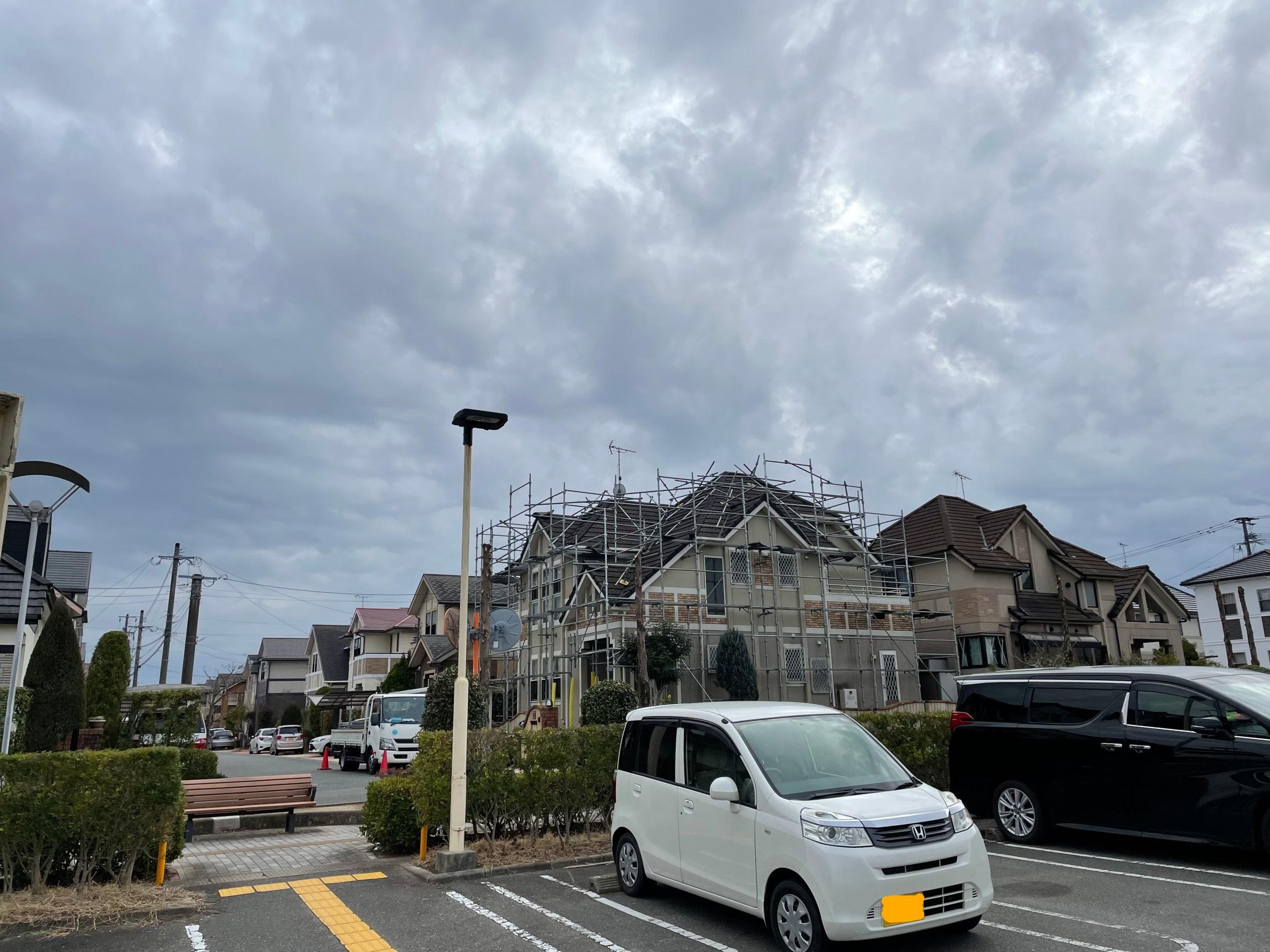 福岡県小郡市 一般住宅 屋根足場工事①