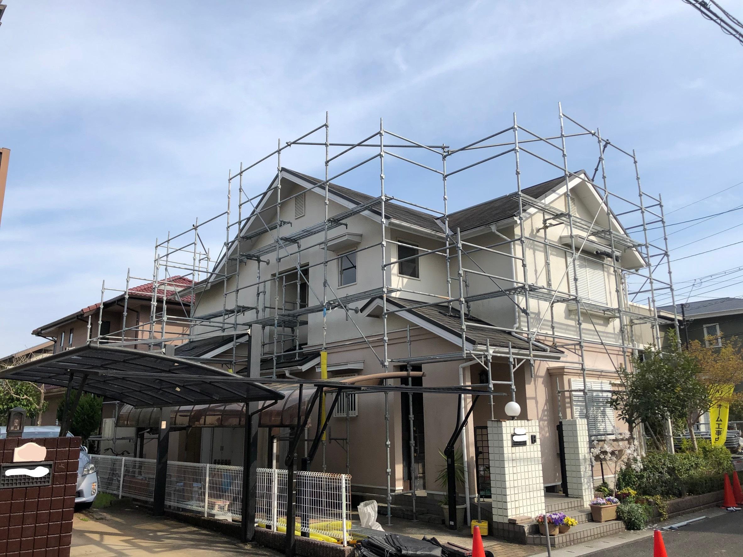 佐賀県三養基郡基山町 住宅改修工事 足場