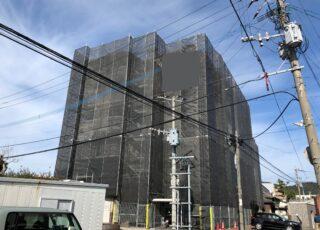 福岡県大野城市 6階建てマンション 改修工事足場①
