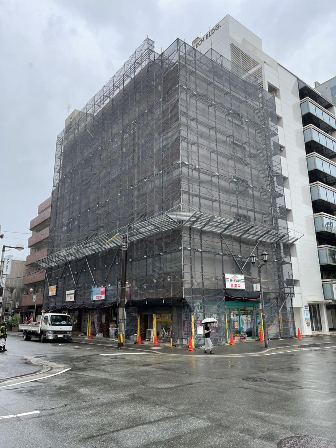 福岡県福岡市博多区 2面改修工事足場