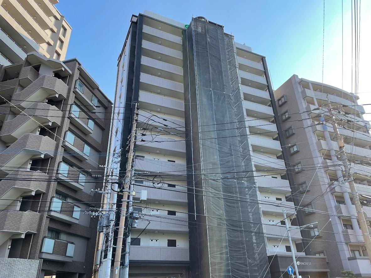 福岡県福岡市南区 外部階段まわり タイル補修工事 部分足場工事①
